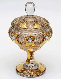 Хрусталь с золотом Сахарница Jahami Bohemia 16,5 см