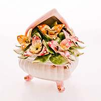 Шкатулка Цветы треугольная на ножках Lanzarin Ceramiche