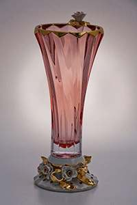 Ваза для цветов Бибироуз Пикаделли 35,5 см красная высокая