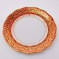 Лист красный Набор тарелок Carlsbad 24 см из фарфора