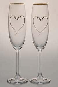 Набор фужеров для шампанского 220 мл 2 предмета Сердце