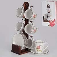 Набор чайный Patricia 12 предметов с деревянной подставкой 200 мл