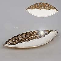 Блюдо овальное из керамики Лист