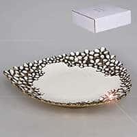 Блюдо треугольное из керамики Хризантема 32,5 см