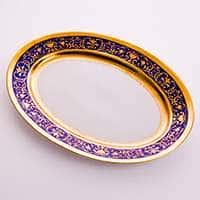 Блюдо Лента Рельеф золото 32 см Bavarian Porcelain