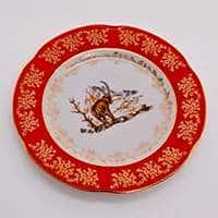 Мария Охота красная Набор тарелок Bavarian Porcelain 21 см