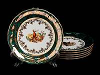 Охота зеленая Набор тарелок Bavarian Porcelain 19 см