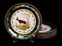 Охота зеленая Набор тарелок Bavarian Porcelain 24 см