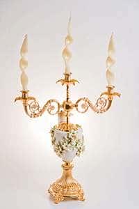 Франко Подсвечник из латуни и керамики на 3 свечи