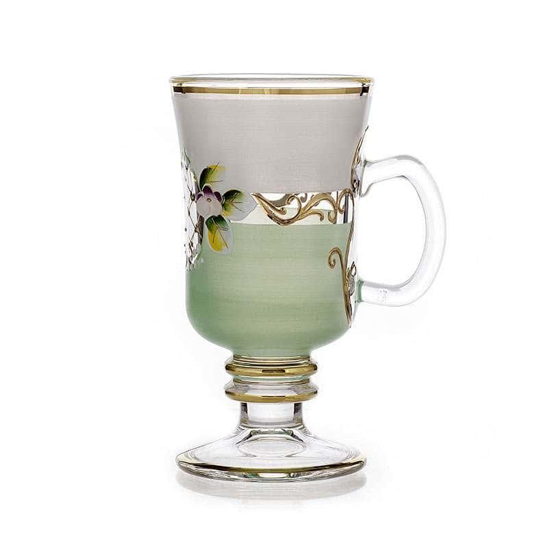 Лепка белая-зеленая Набор стаканов для чая Bohemia на 6 перс.