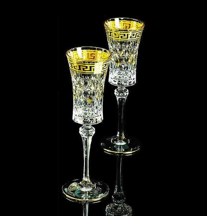 IMPERIA Бокал для шампанского, набор 2 шт, хрусталь/декор золото 24К