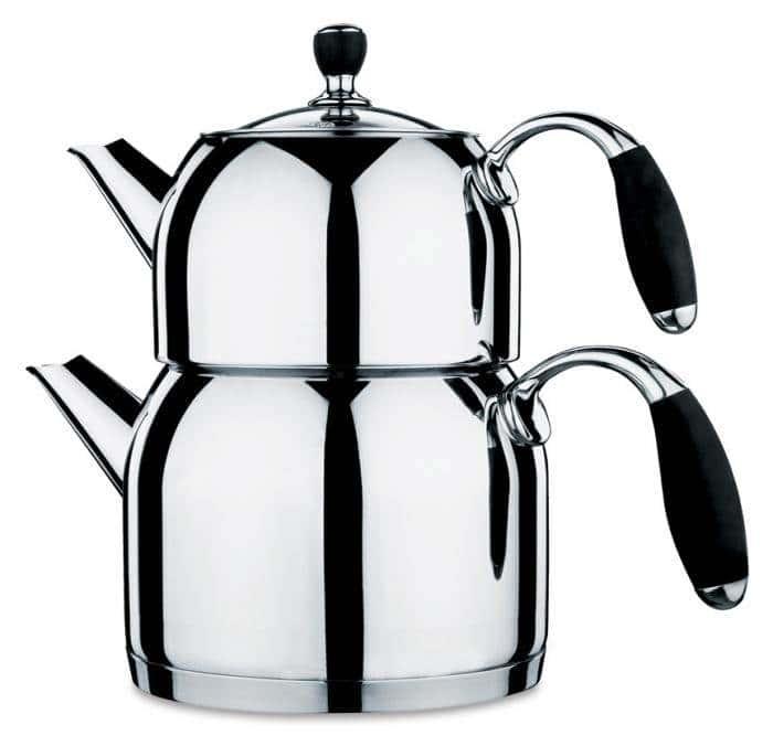 Чайная пара из нержавеющей стали Flora Maxi Tea Black