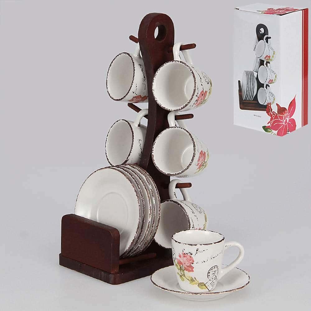 Набор кофейный 12 предметов с деревянной подставкой 100 мл