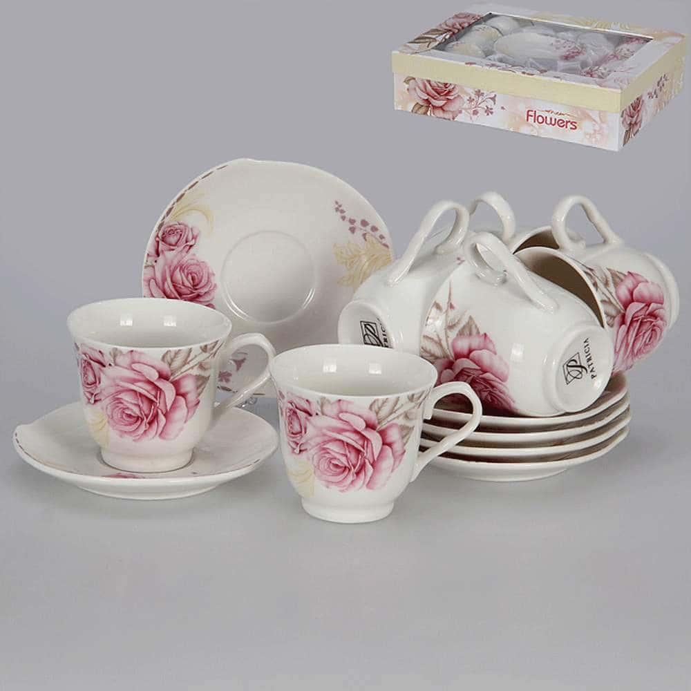 Кофейные чашки с блюдцами Розовые розы на 6 персон