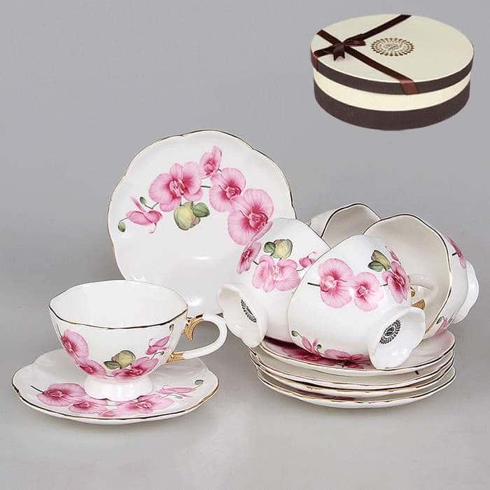 Набор кофейный 12 предметов 90 мл Розовые орхидеи