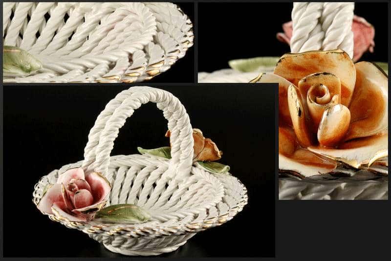 Корзина Цветы круглая 19x21x13 см