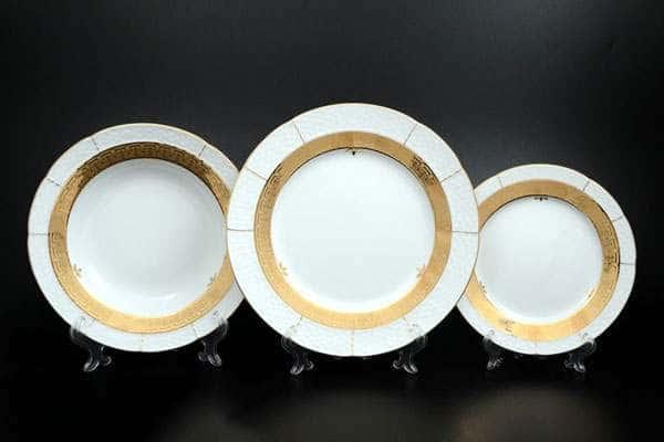 Николь Золотой орнамент Набор тарелок Thun 18 предметов