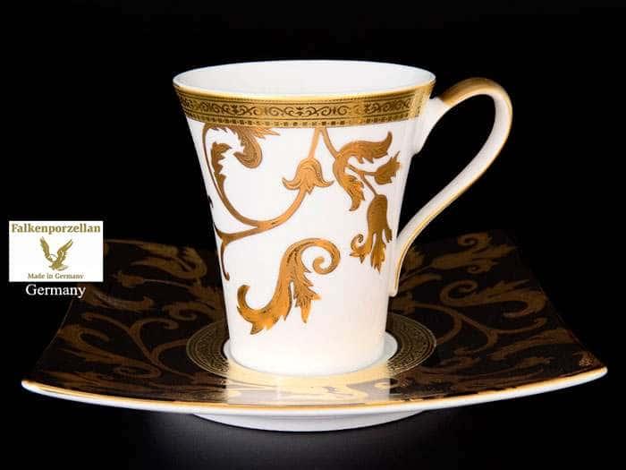 Tosca Black Gold Набор чайных пар FalkenPorzellan 220 мл (6 пар)