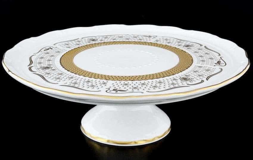 Мария Луиза Лилия Белая Тарелка для торта на ножке Carlsbad 32 см