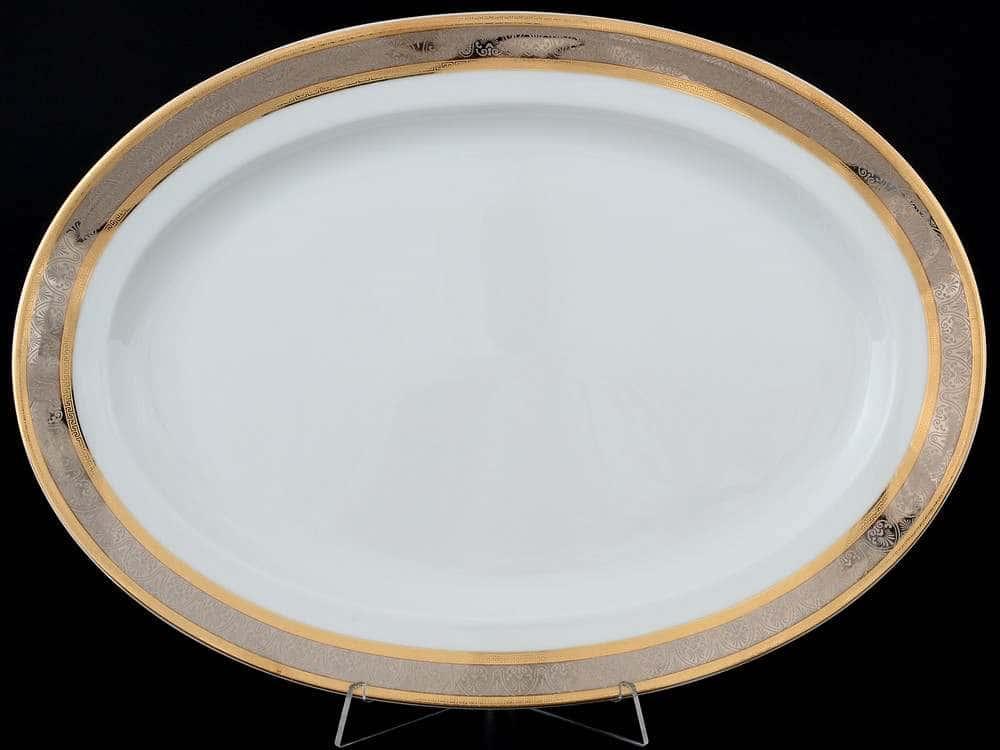 Блюдо овальное 39 см Опал Широкий кант платина золото Thun