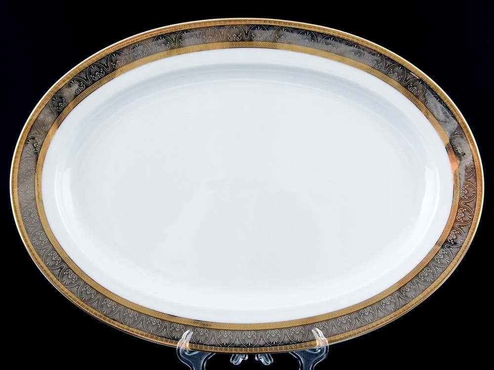 Блюдо овальное 36 см Опал Широкий кант платина золото Thun