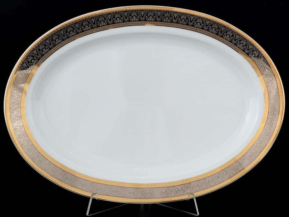 Блюдо овальное 32 см Опал Широкий кант платина золото Thun