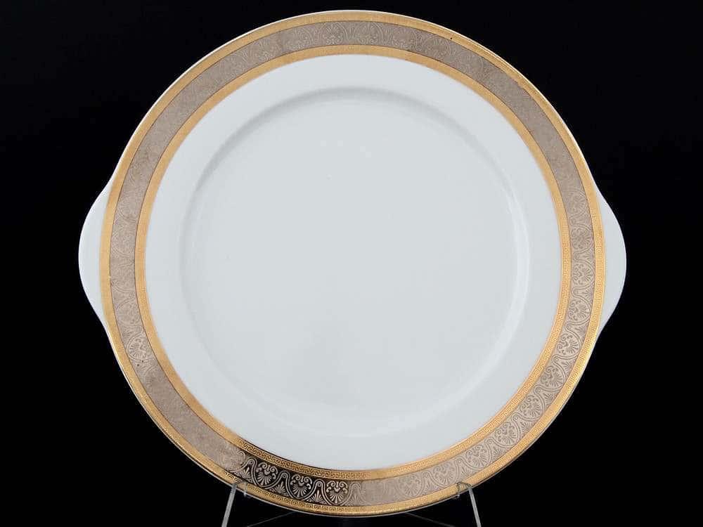 Опал Широкий кант платина золото Тарелка для торта Thun 27 см