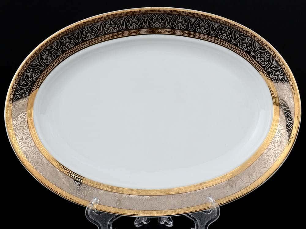 Блюдо овальное 24 см Опал Широкий кант платина золото Thun