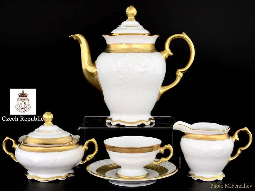 Кофейный мокка сервиз на 6 персон 17 предметов Мария Луиза Матовая полоса Carlsbad