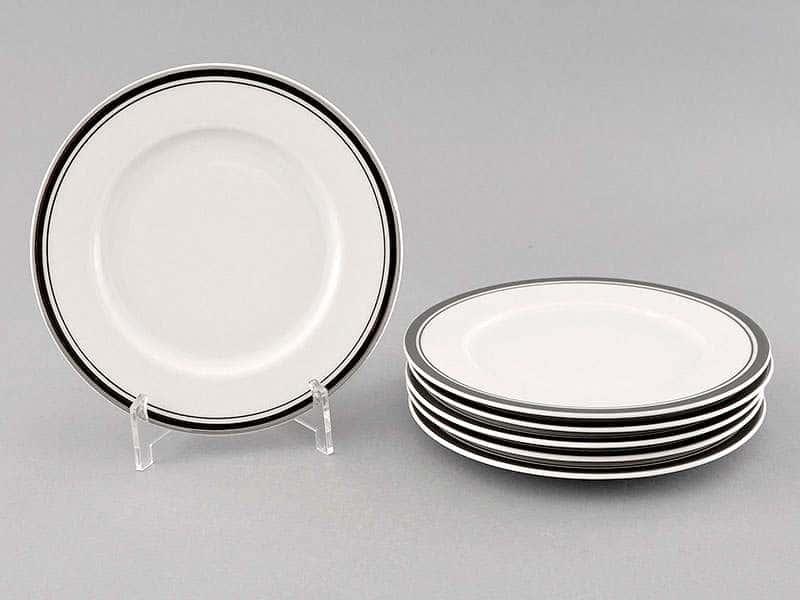Набор тарелок десертных 17см Сабина отводка платина