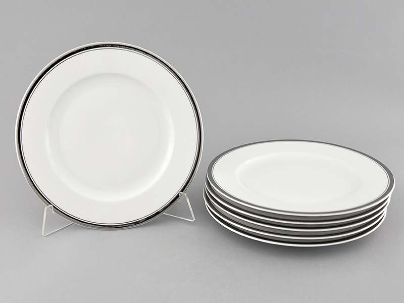 Набор тарелок десертных 6шт 19см Сабина Отводка платина