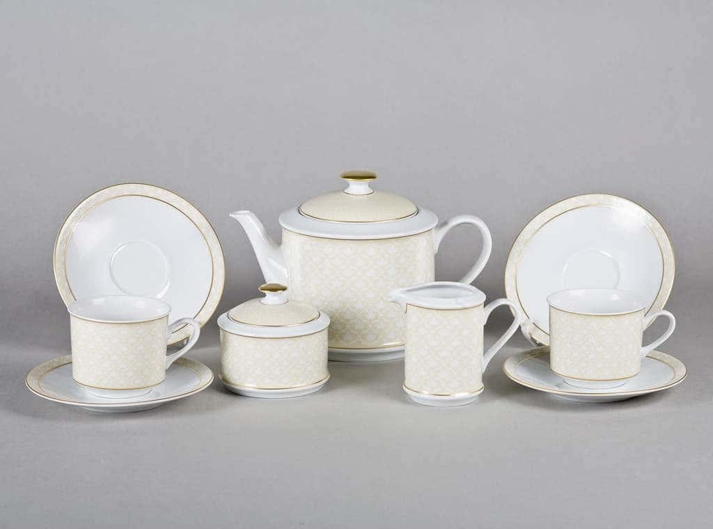 Сервиз чайный 15предм. Сабина Бежевое плетение