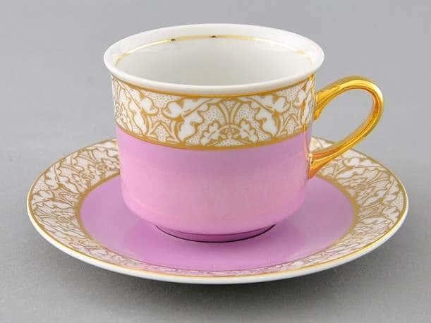 Чайная пара Сабина Золотые листья Розовая  2 предмета 200 мл