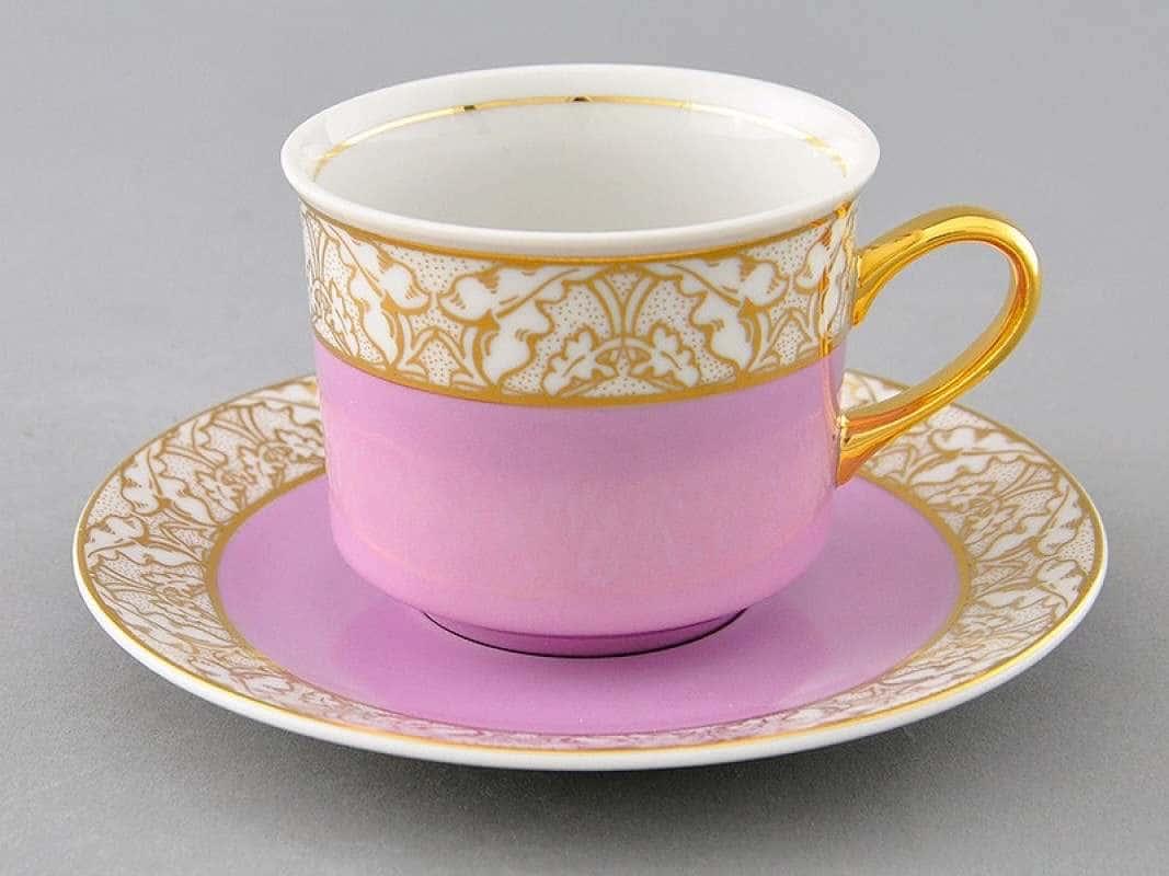 Чайная пара Сабина Золотые листья Фиолетовая  2 предмета 200 мл