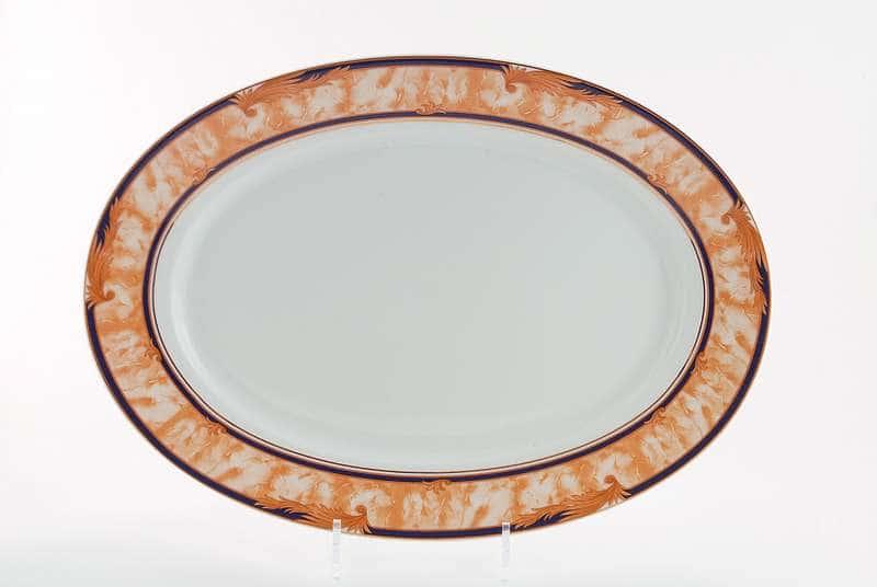 Блюдо овальное 39 см Сабина Мрамор Кобальт