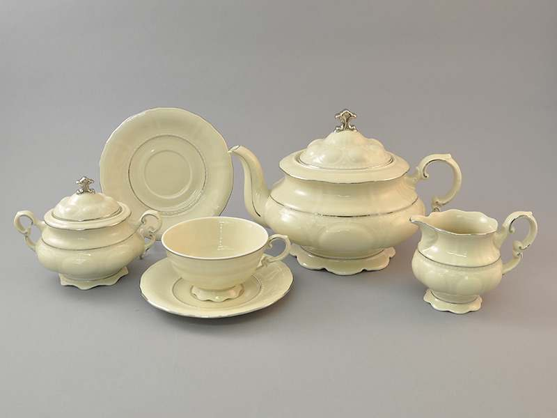Чайный сервиз 6 персон 15 предметов Соната Отводка платина Слоновая кость
