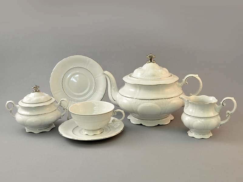 Чайный сервиз 6 персон 15 предметов Соната Отводка платина
