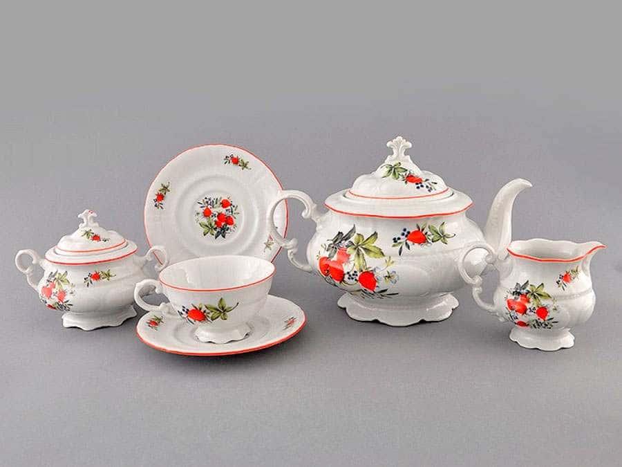 Чайный сервиз 6 персон 15 предметов Соната Клубника
