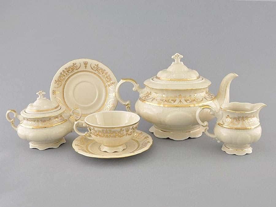 Чайный сервиз 6 персон 15 предметов Соната Золотой орнамент Слоновая кость