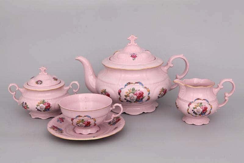 Чайный сервиз 6 персон 15 предметов Соната Полевые цветы Розовый фарфор