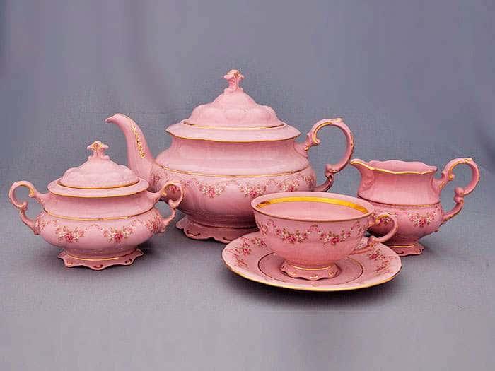 Чайный сервиз 6 персон 15 предметов Соната Мелкие цветы Розовый фарфор
