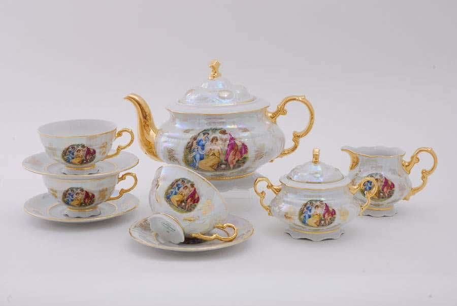 Чайный сервиз 6 персон 15 предметов Соната Мадонна Перламутр