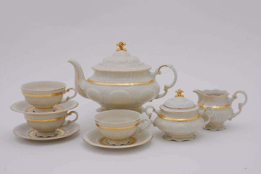 Чайный сервиз 6 персон 15 предметов Соната Золотая лента Слоновая кость 06797