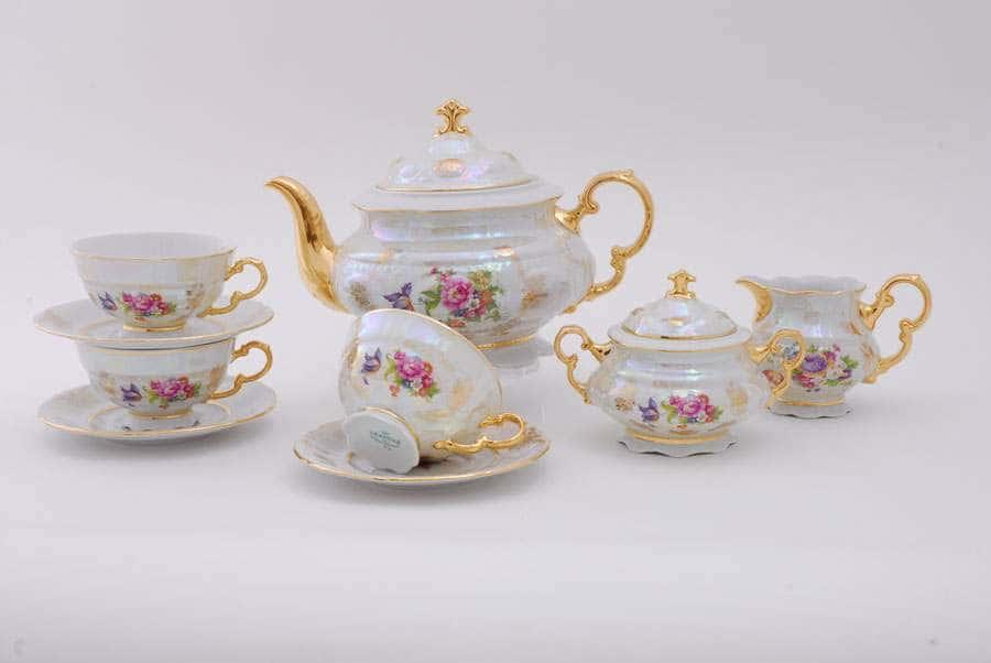 Чайный сервиз 6 персон 15 предметов Соната Цветы Перламутр