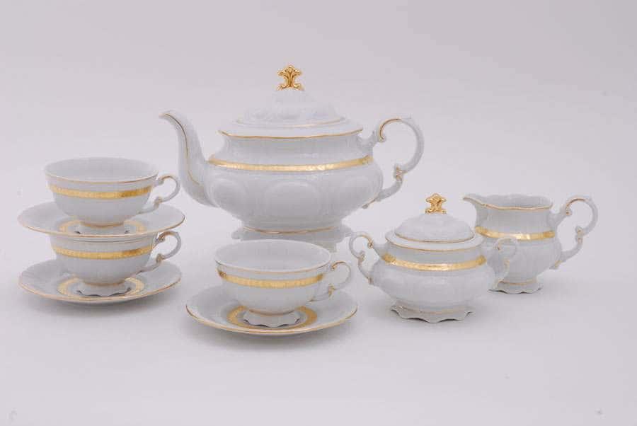 Чайный сервиз 6 персон 15 предметов Соната Золотая лента