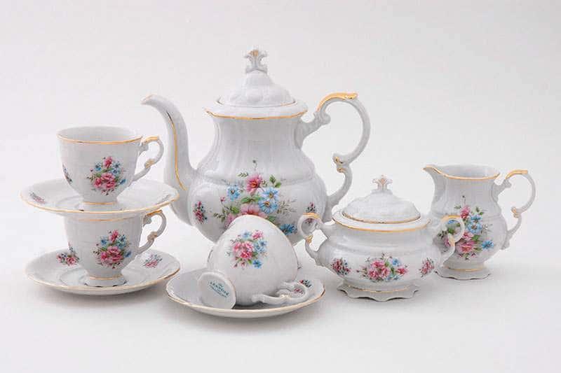 Кофейный сервиз 15 предметов Соната Розовые цветы