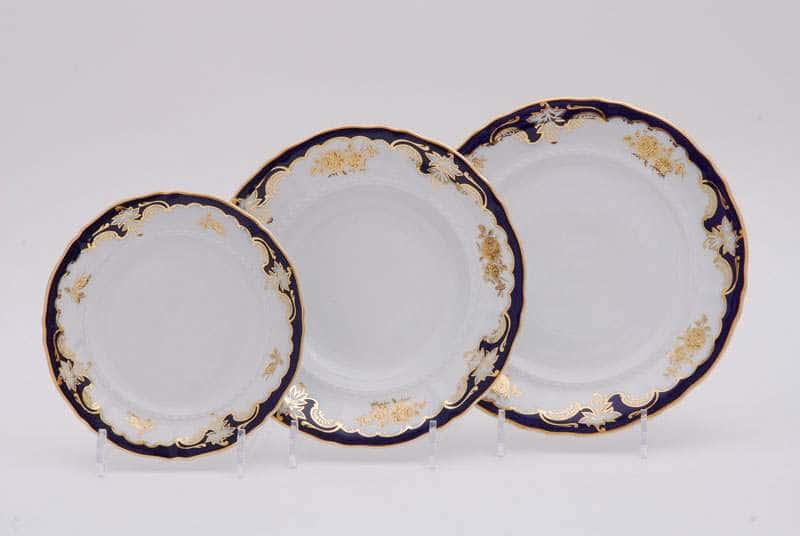 Набор тарелок десертных Соната Золотая роза Кобальт