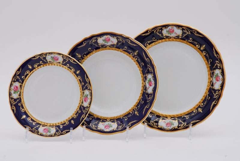 Набор тарелок десертных Соната Мелкие цветы Кобальт