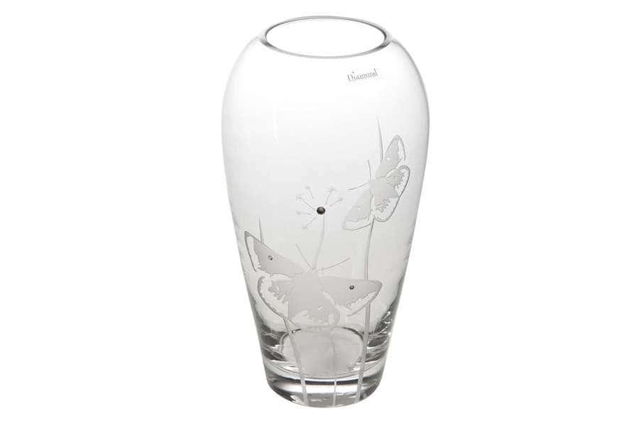 Ваза для цветов Бабочки 32 см Deco Glass Польша
