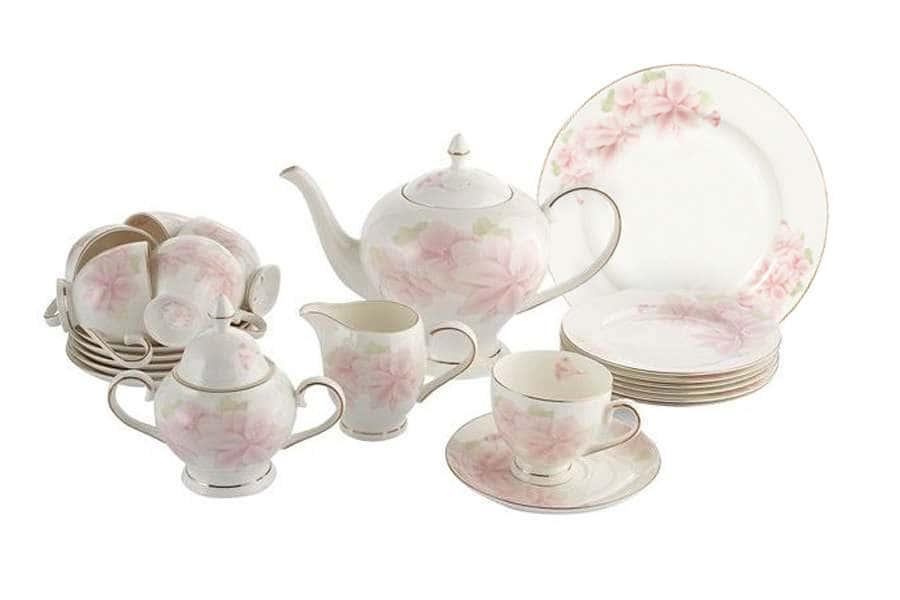 Чайный сервиз Розовые цветы 40 предметов на 12 персон